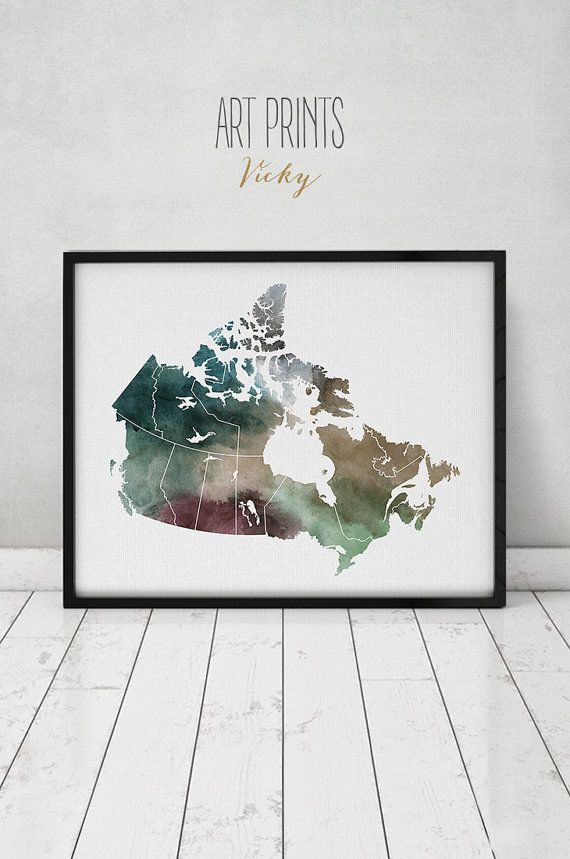 canada map canada watercolor map wall art canada by
