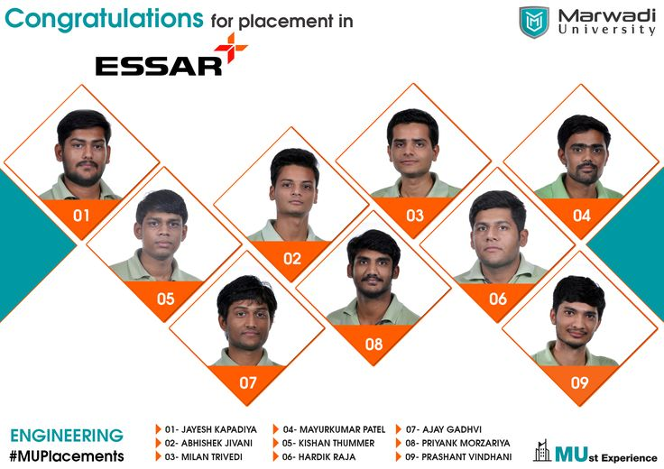 MU Placement 2017!! Congratulation for placement in Essar Group!!  We are proud of you.  We wish you good luck for the bright future.  #MUPlacement #Essar #MarwadiUniversity #MUstExperience #Rajkot  ==== https://www.marwadiuniversity.ac.in/ ====
