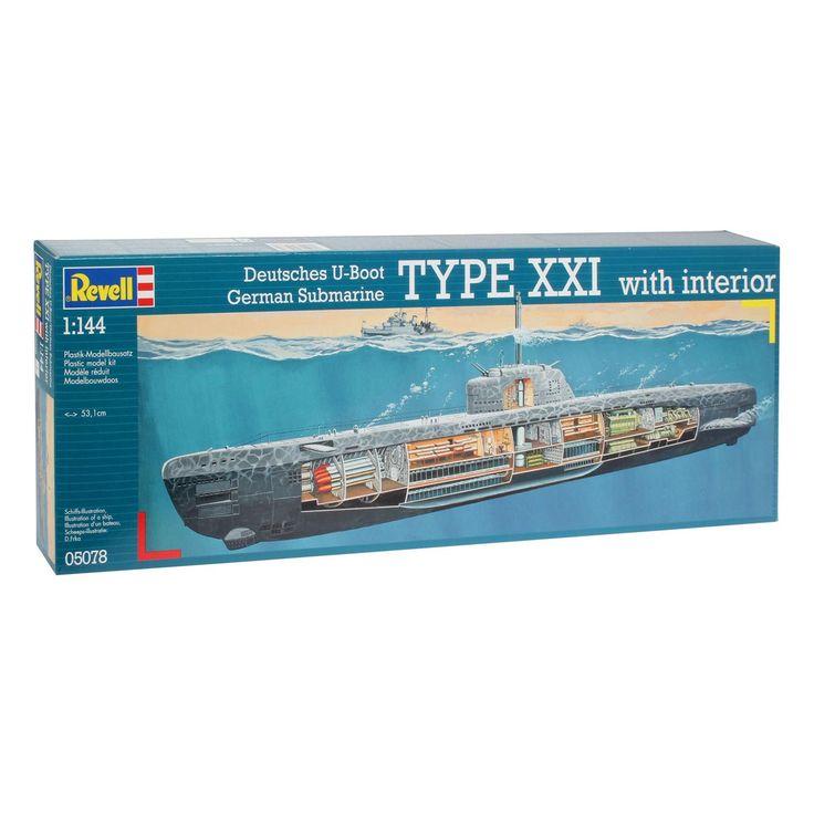 Revell Onderzeeboot Type XXI U 2540 Modelbouwset bestaande uit 163 onderdelen Afmeting: lengte 53,1 cm Schaal 1:144 Moeilijkheidsgraad level 4  - Revell Onderzeeboot Type XXI U 2540