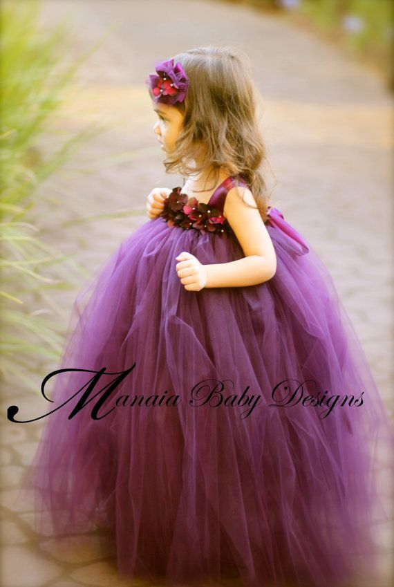 Baby Naia Rockin' the Flower Girl Tutu Dress / Eggplant Flower Girl by ManaiaBabyDesigns, $88.00