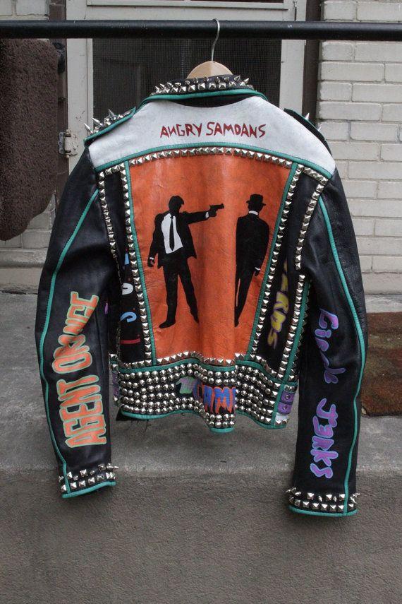 Voici main peinte Vintage cuir vestes de Punk Rock avec clous et pointes