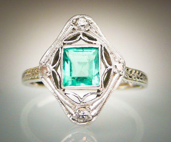Antique Art Deco ca 1925 Emerald Cut Emerald and Four