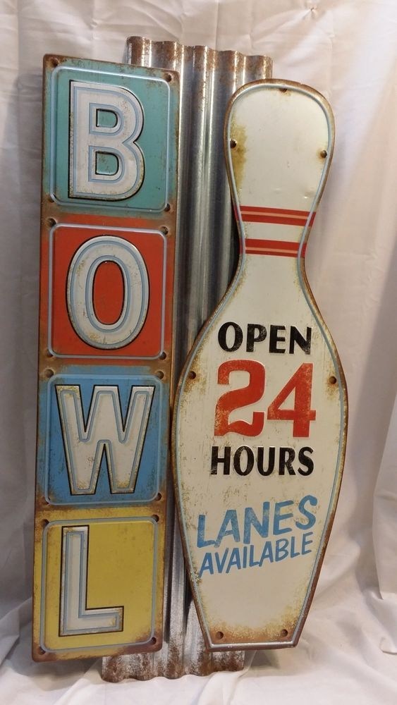 "Large Vintage Bowling Alley Metal Sign ""Bowl Open 24 Hours Lanes Available"" http://stores.ebay.com/clockworkalpha/"