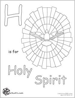 h is for holy spirit alphabet coloring pagescatholic