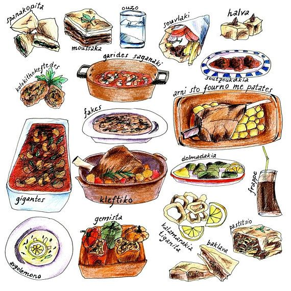 Handdrawn Greek Food Clipart With Names, Commercial Use