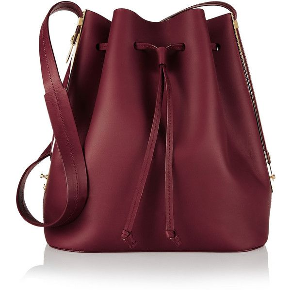 Sophie Hulme Matte-leather bucket bag found on Polyvore featuring bags, handbags, shoulder bags, purses, bolsas, accessories, genuine leather shoulder bag, shoulder strap bag, leather shoulder handbags and red leather shoulder bag