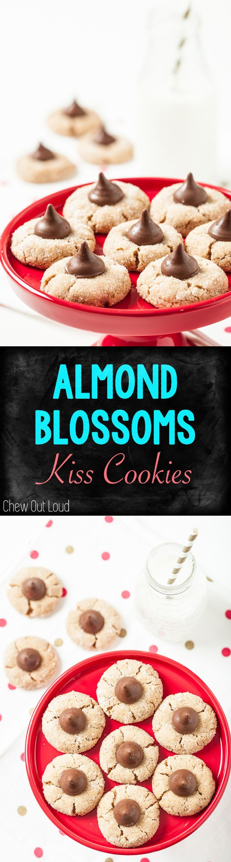 Almond Chocolate Kiss Cookies (aka blossoms) are SO SO good. Chewy, chocolatey, fun, & delicious. #almond #chocolate #cookies