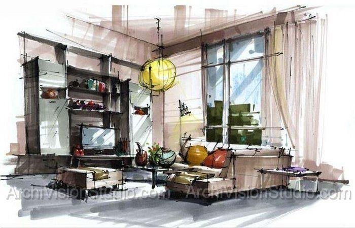 Schets uit de losse hand markers en fineliners het is - Hand drafting for interior design ...