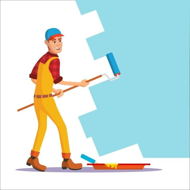 Professional Painter Vector Painting Brush Roller Craftsman Painting Wall Flat Cartoon Illustration Man Male Worker Png And Vector With Transparent Backgroun Pinceis De Pintura Pinceis De Arte Png