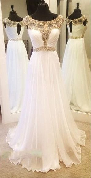 2016 Gold Crystals Beading Chiffon Prom Dresses White Capped Sleeves Luxury A-line Evening Gowns