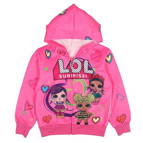ALAMing Girls LOL Surprise Fashion Printed Hooded Autumn Winter Coat Jacket Kids Clothes
