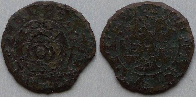 Maryborough, Edward Nicholls penny token Obv: .:.EDWARD.NICHOLLS , around linear inner circle, crowned rose within. Rev: .OF.MARIBROVGH , around linear inner circle, .N. over E:M with . . below. M. Dickinson 632
