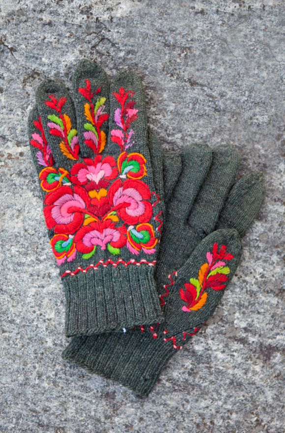 Well cared for and preserved Norwegian knitted and embroidered gloves worn by the groom at a wedding over 100 years ago. Photo Laila Duran ©
