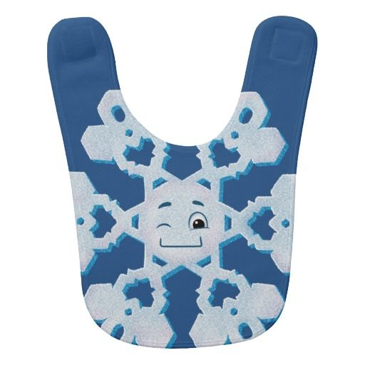 "Snowflake wink bib Read more about ""The Lonely Snowflake"" at: http://www.frogburps.com/snowflake_sq #TheLonelySnowflake #childrensbooks #books #kidlit #snowflakes #bib #cute #illustrations"