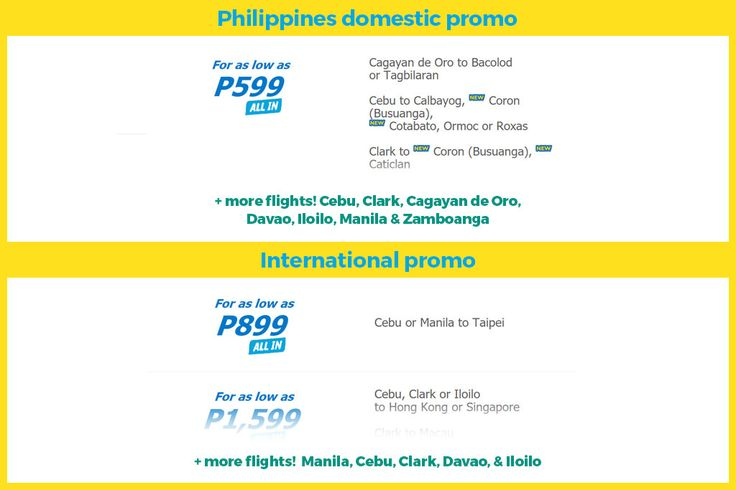Cebu Pacific Seat Sale – Domestic P599 ALL-IN / International P899 ALL-IN Promo 2017 https://www.detourista.com/promo/new/cebu-pacific/  Selling date: Up to April 18, 2017 Travel date: September 1, 2017 to December 31, 2017.  Destinations include Manila, Davao, Kalibo, Hong Kong, Tacloban, Puerto Princesa, Singapore, Kuala Lumpur, Iloilo and 53 more places.