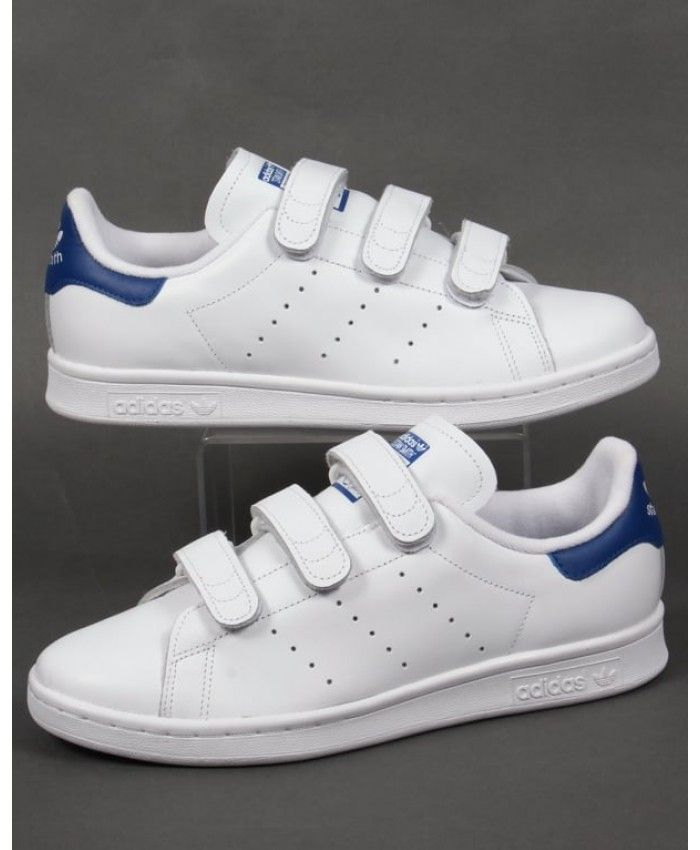 8723b0f079a12 Adidas Stan Smith Womens CF Trainers White Royal Blue Sale