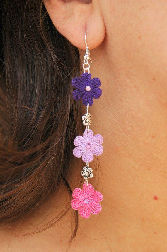 Crochet flower earrings - Crochet jewelry - Long earrings - Pink, purple, violet - Fashion jewelry - Gift idea