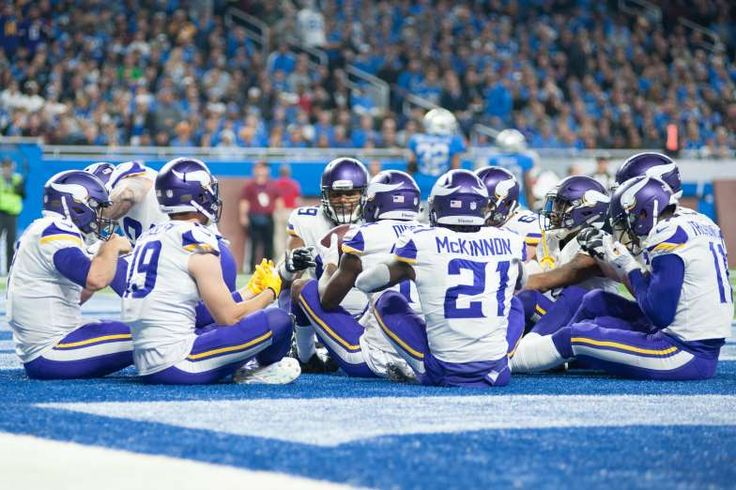 Best NFL celebrations of 2017 - November 15, 2017:  Minnesota Vikings players celebrate a touchdown by quarterback Case Keenum (7) during the first quarter against the Detroit Lions by imitating a Thanksgiving meal at Ford Field.