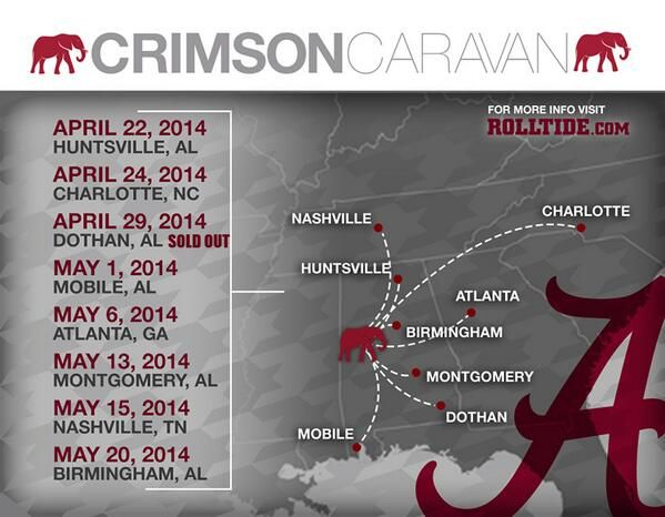 Crimson Caravan Schedule 2014  ~ Check this out too ~ RollTideWarEagle.com sports stories that inform and entertain and Train Deck to learn the rules of the game you love. #Collegefootball Let us know what you think. #Alabama #RollTide #Saban