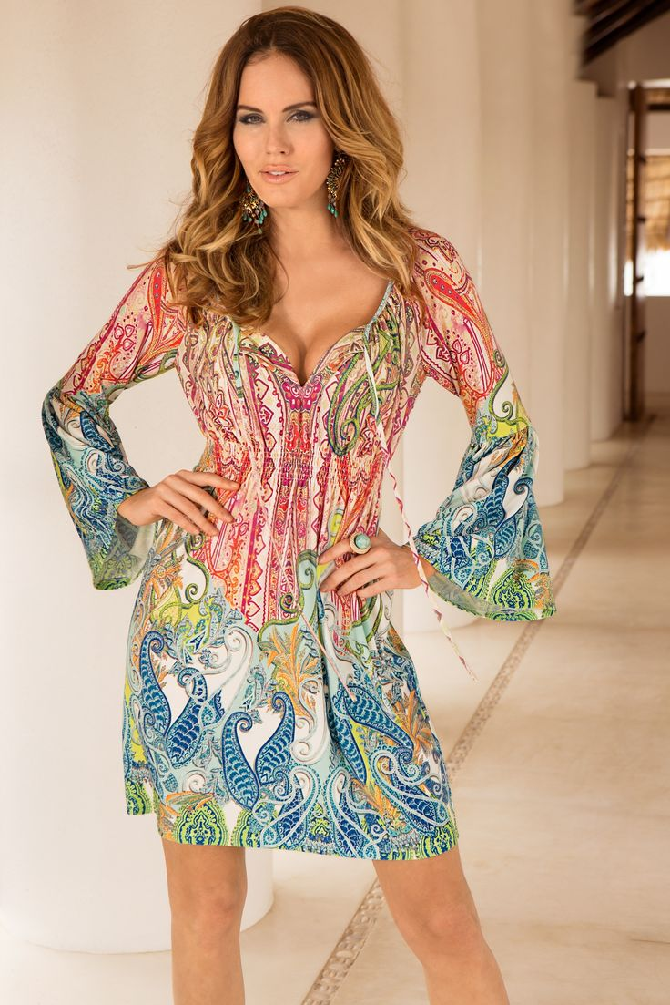 Boston Proper Rainbow paisley flare-sleeve dress # ...