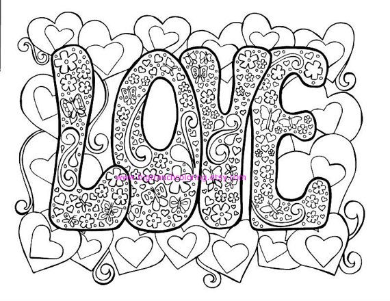 Love Adult Coloring Page Hippie Valentines By BigTRanchColoring