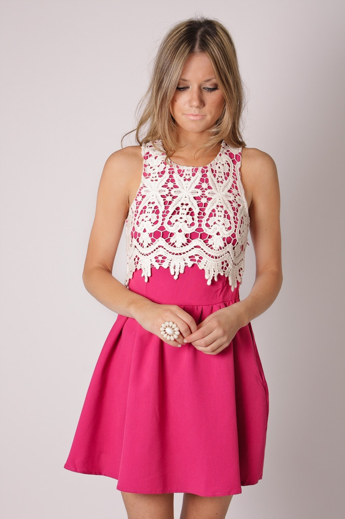 pink and creme and lace! LOVE: Lace Cocktails Dresses, Lace Tops, Pink Dresses, Cute Dresses, Annabella Lace, Hot Pink, White Lace, The Dresses, Lace Dresses