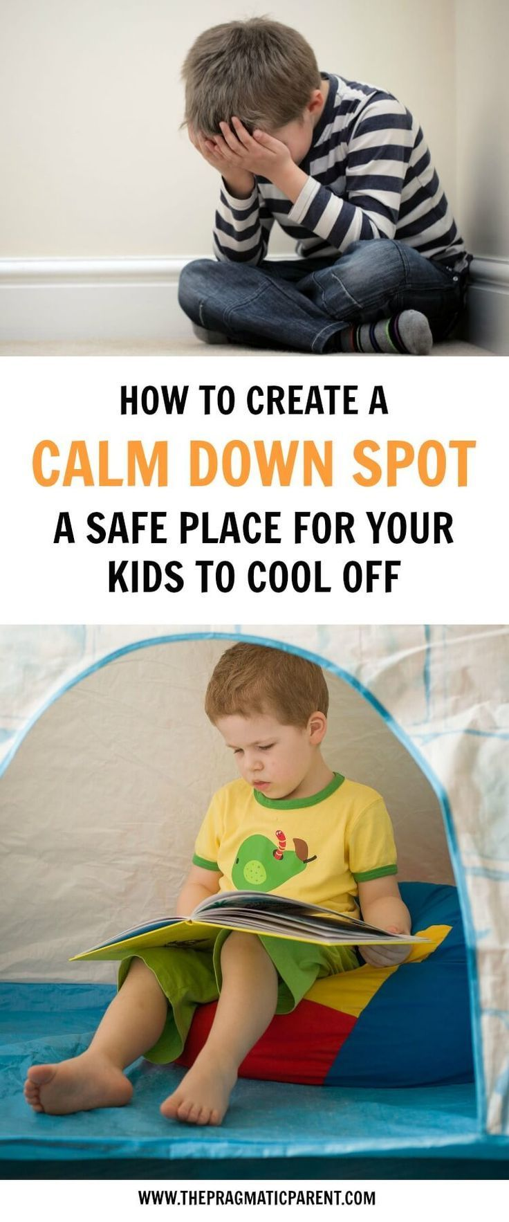 Help your child to calm down & manage their emotions with a dedicated cool off spot. A quiet environment for them to get the calm sensory input they need to calm down. #calmdownspot #quietcorner #calmdown #controlemotions #positiveparenting