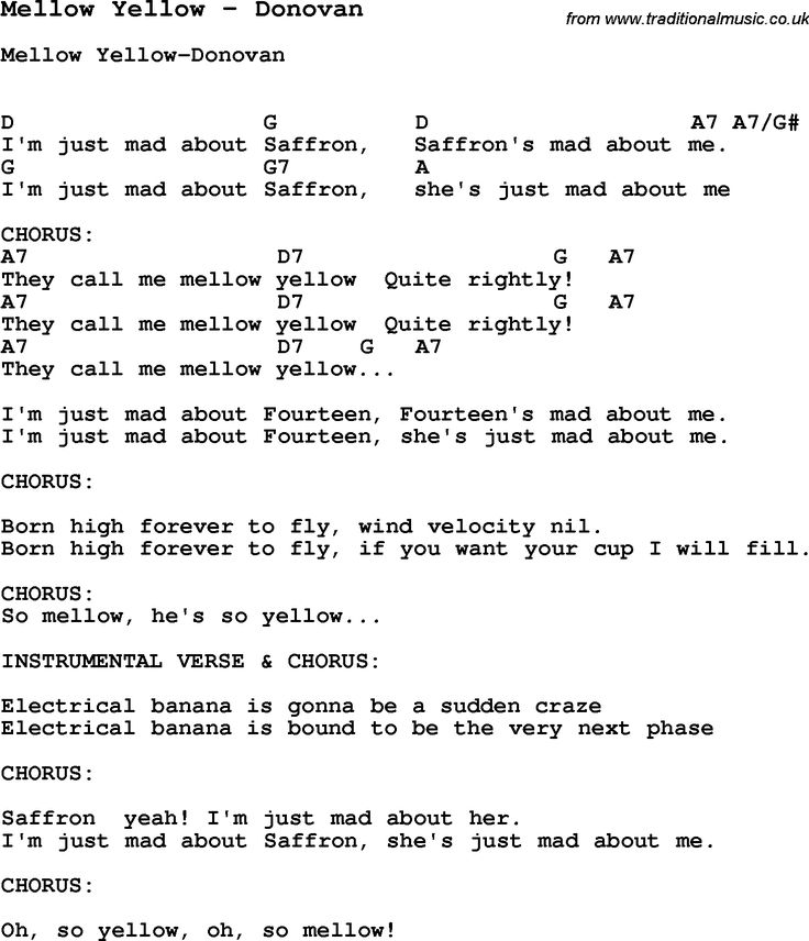 Song Mellow Yellow by Donovan, with lyrics for vocal performance and accompaniment chords for Ukulele, Guitar Banjo etc.
