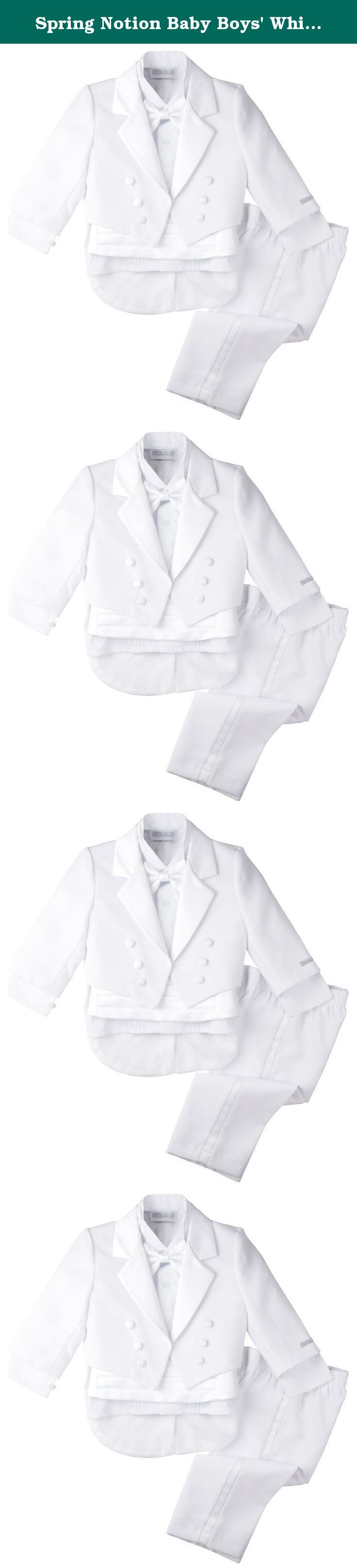 Spring Notion Baby Boys' White Classic Tuxedo with Tail Medium / 6-12 Months. This traditional boys tuxedo suit is perfect for Weddings, Church, Baptism, and any Special Occasions. Timeless design. It's a complete set consists of tuxedo, shirt, bow tie, cummerbund and pants.