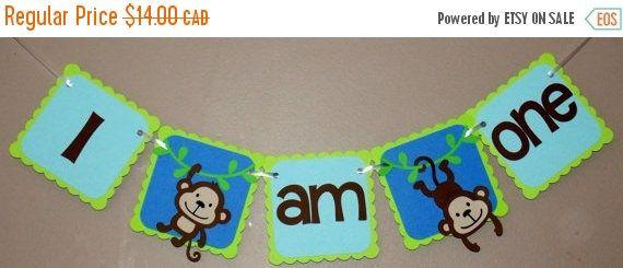 Trona de niño mono cumpleaños Banner / Banner / primer