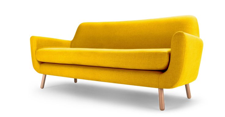 The Jonah 3 seater sofa in dandelion yellow linen mix fabric will add distinctive style to any look.