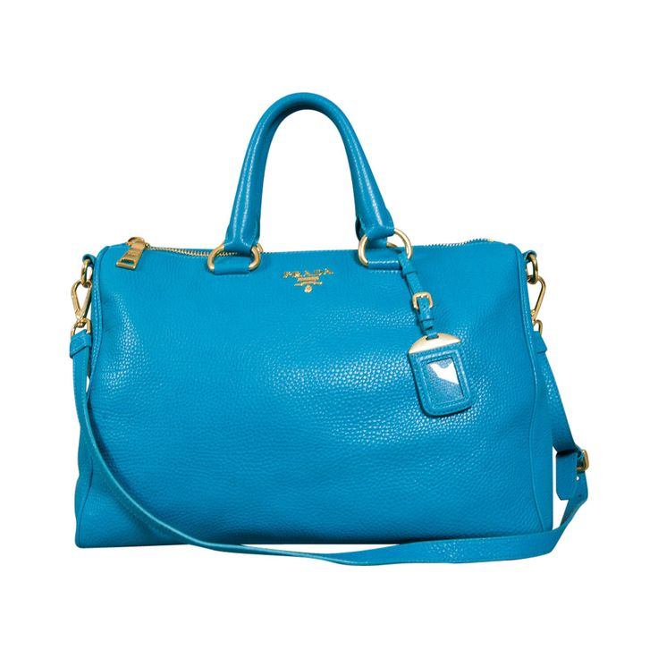 Prada Turquoise Leather Large Shoulder Bag Purse | From a collection of rare vintage shoulder bags at https://www.1stdibs.com/fashion/handbags-purses-bags/shoulder-bags/