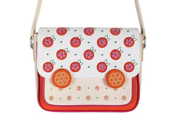 230271fb7 Cream leather bag with embroidered oranges, Messenger medium bag, Crossbody shoulder  purse, Fruit su
