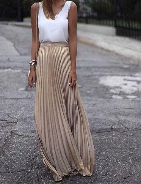 Metallic beige long pleated skirt maxi length spring summer golden festival