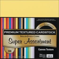 @Overstock - DARICE-Core'dinations: Premium Textured Cardstock. This package contains 100 12x12 inch sheets of 65-lb cardstock (five each of twenty colors). Each sheet has a canvas texture on one side and a solid-dyed core.  $22.99