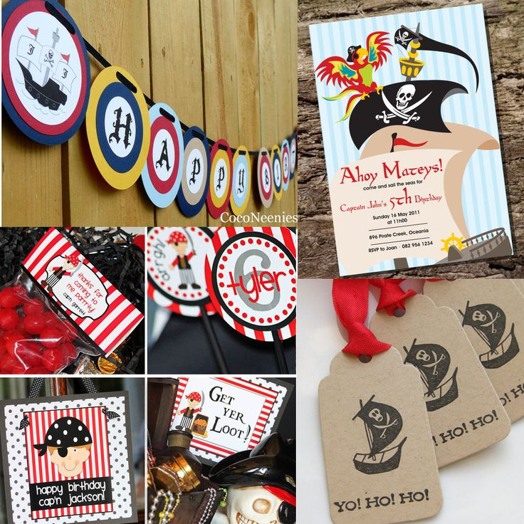 kids pirate theme birthday | Top left: Pirate Party Happy Birthday Banner from 'CocoNeenies' , € ...