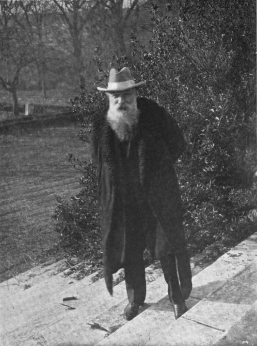 Auguste Rodin photographed on the steps of the Hôtel Biron, Paris