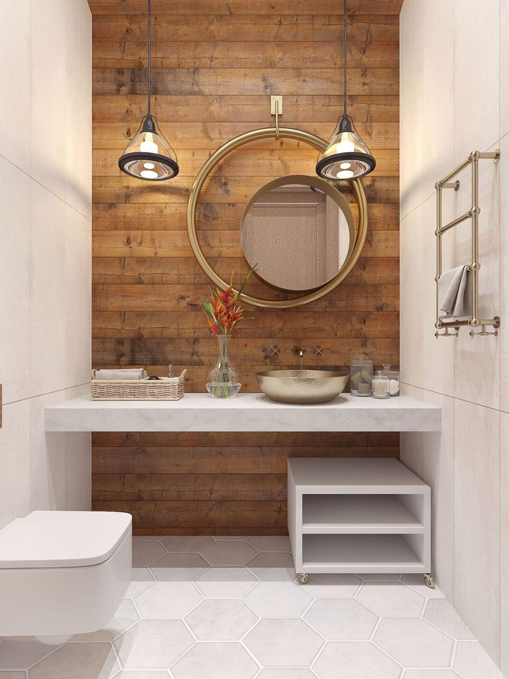 Round concentric mirrors and wood tone wall for bathroom home decor interior design idea