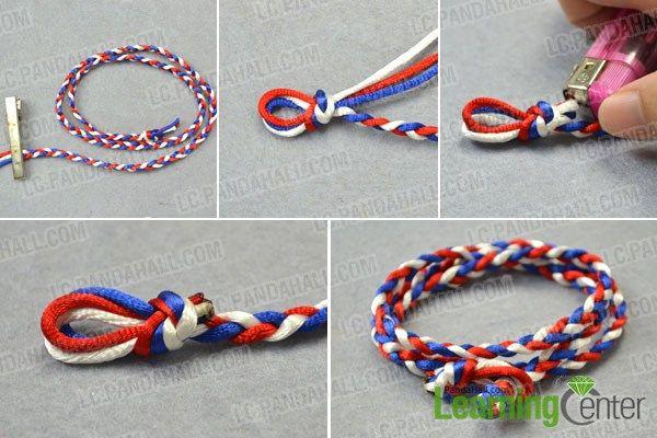 STEP BY STEP TUTORIAL:   Braid the DIY wrapped cord bracelet