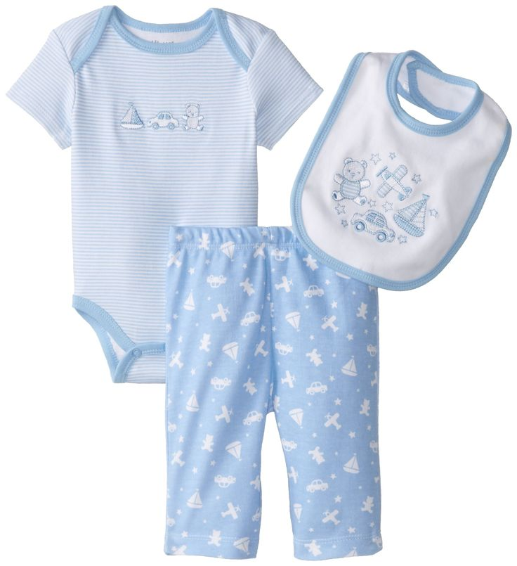 Little Me Baby-Boys Newborn Playtime Bodysuit and Pant Set, Light Blue, 9 Months