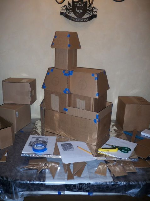 cardboard haunted house would be perfect to make and paint as props for a party - Haunted House Halloween Decorations