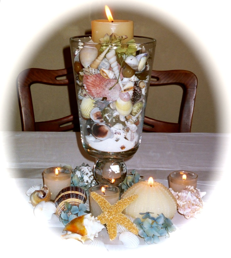 Table's with candles and seashells as centerpieces too.: Cat Sandstrom, Luau, Candles, Wedding Flowers, Seashells, Beach, Centerpieces