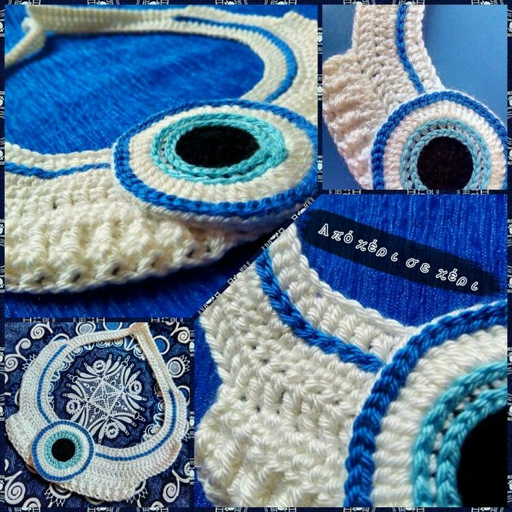 #Μάτι #πλεκτό σε #κολιέ; Γιατί όχι; Σε πολλούς #απαραίτητο ......  ;) !!!!!!!!!!!! #απόχέρισεχέρι  #crochet #eye #necklace #collar #jewel #crochetjewel #πλεκτό #κόσμημα  #πλεκτό #μάτι