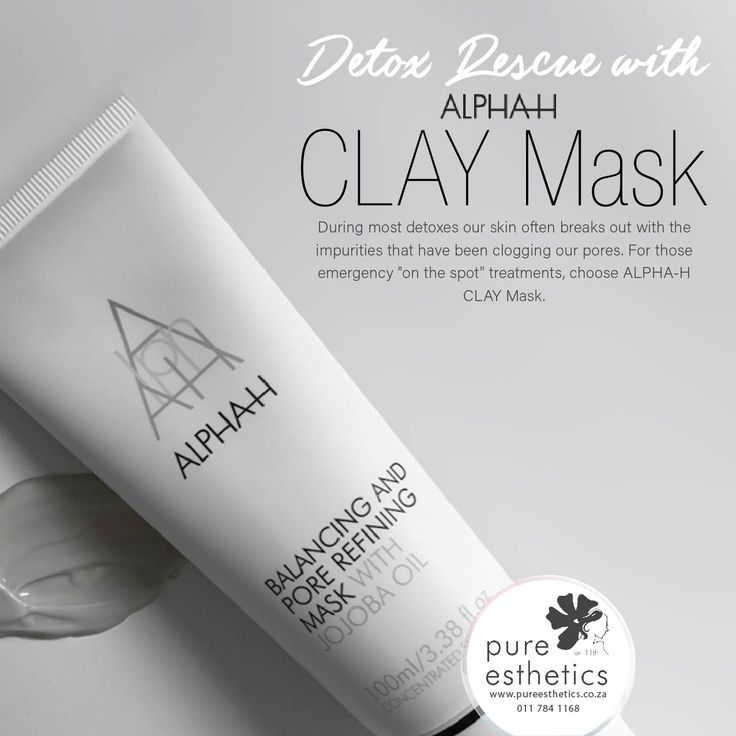 "Detox Rescue with ALPHA-H CLAY Mask During most detoxes our skin often breaks out with the impurities that have been clogging our pores. For those emergency ""on the spot"" treatments, choose ALPHA-H CLAY Mask. #AlphaH #Detox #Skin #Masks #Rescue"