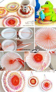 Paper Plate (and Coffee Stick) LOOM. Weben mit Papptellern - stabiler und öfter zu gebrauchen wären Plastikteller.