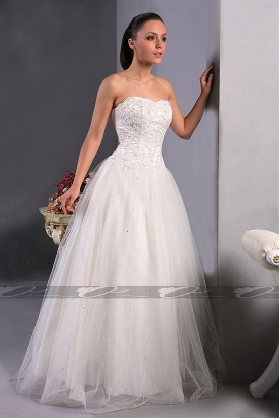 Strapless ball gown tulle wedding dress  this is what i want!!!!