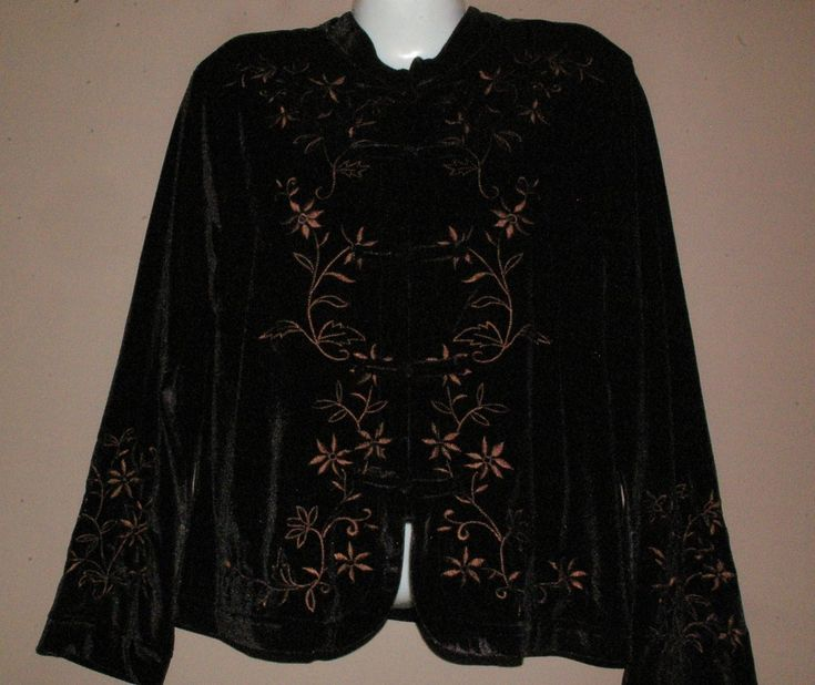 NEW Womens COLDWATER CREEK Black Velvet Embroidered Shirt / Jacket Size Large | eBay