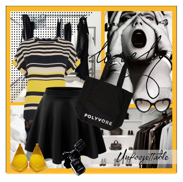 Yellow polyvore by lailah37 on Polyvore featuring moda, Oasis, Nicholas Kirkwood, Prada, Chanel, GE and sinsnottragedies