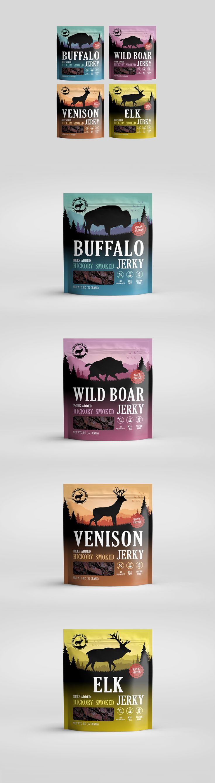 Jerky snack packaging design by DmitryM. A dark animal silhouette is set against a colorful wilderness scene. #pouch #design