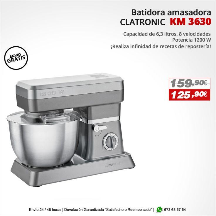 ¡Realiza infindad de recetas de repostería! Batidora amasadora CLATRONIC KM 3630 http://www.electroactiva.com/clatronic-batidora-amasadora-km-3630-titan-barata.html #Elmejorprecio #Batidora #Amasadora #Chollo #Electrodomesticos #PymesUnidas